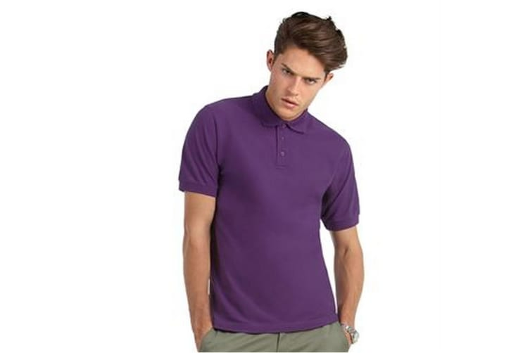 B&C Mens Heavymill Short Sleeve Cotton Polo Shirt (Purple) (XL)