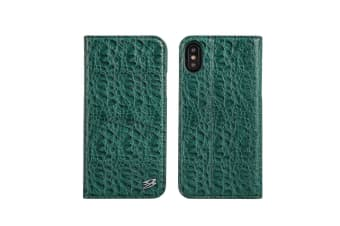 For iPhone XS X Wallet Case Fierre Shann Crocodile Genuine Leather Cover Green