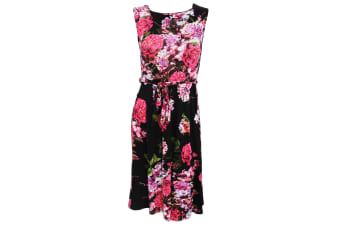 Womens/Ladies Rose And Heather Print Sleeveless Summer Dress (Black)