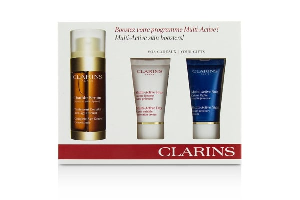 Clarins Multi-Active Skin Boosters: Double Serum 30ml + Day Cream 15ml + Night Cream 15ml (3pcs)