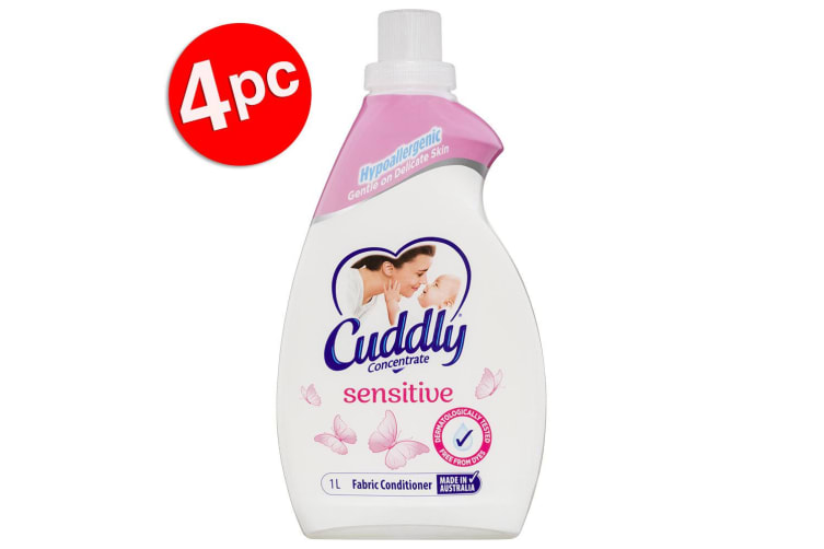 4PK Cuddly 1L Laundry Fabric Softener Hypoallergenic Sensitive Concentrated
