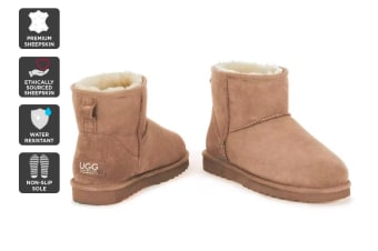 Outback Ugg Boots Mini Classic - Premium Sheepskin (Chestnut, Size 12M / 13W US)