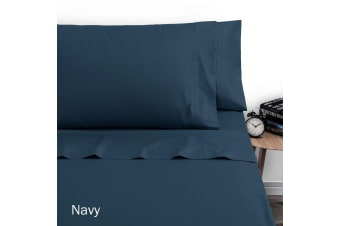 250TC Polyester Cotton Sheet Set Double Navy by Artex