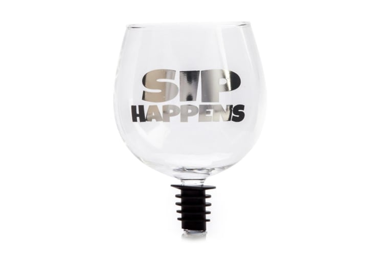 Sip Happens Tipple Topper Drinking 220ml Bar/Wine Glass for Bottle Clear/Silver