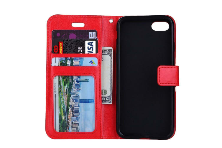 For iPhone 8 PLUS 7 PLUS Wallet Case Modern Horse Texture Leather Cover Red