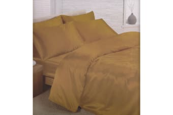 Charisma Satin Bedding Set (Duvet Cover  Fitted Sheet & Pillowcases) (Gold) (Super King Bed)