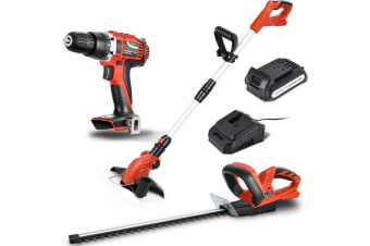 Matrix Tools 20V Cordless Brushed Drill + Grass + Hedge Trimmer Combo Kit