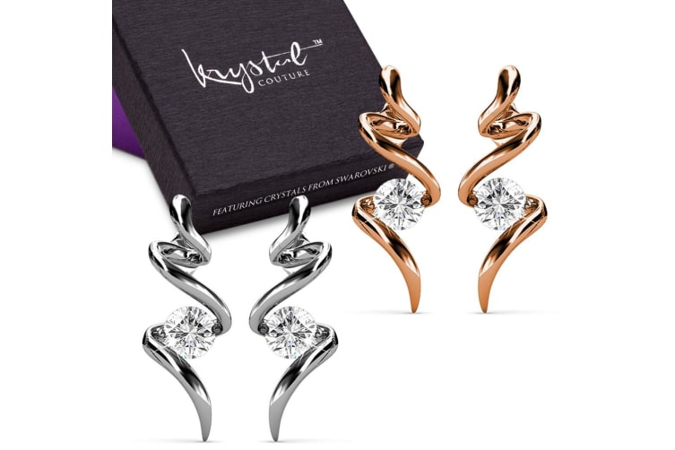 Boxed 2 Pairs Serpent Earrings Set Embellished with Swarovski crystals