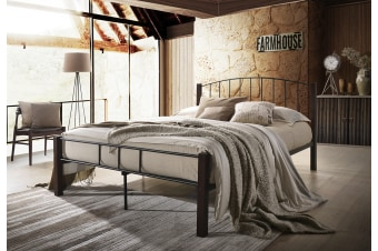 POLO Queen Metal Bed Frame w/ Solid Rubberwood Pole - Black + Wenge