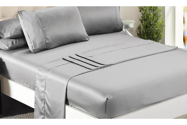 Luxury Super Soft Silky Satin Fitted/ Flat Sheet Pillowcases Bed Set SILVER Queen