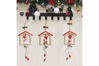 3x Christmas Wooden Tree Wall Door Hanging Ornaments w Bell Xmas Home Decoration