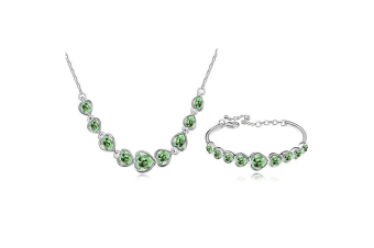 Luxury Crystal Heart Shaped Necklace and bracelet Set Green