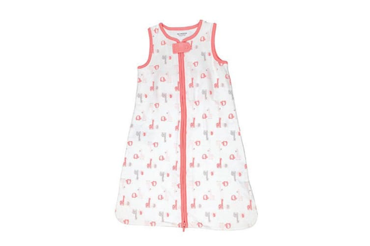 Playette Zip Up Cotton Blanket for Baby/Infant Clothes 0-6 Months Pink Giraffe