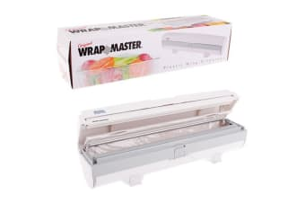 Original Wrap Master Kitchen Plastic Food Cling Wrap Cutter Holder Dispenser WHT