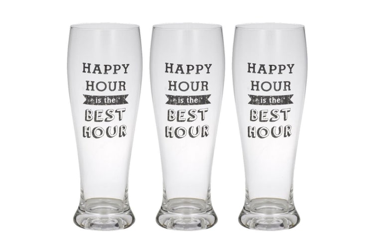 3PK Giftworks 550ml Beer Drink Drinking Glass Barware Happy Hour Best House CLR