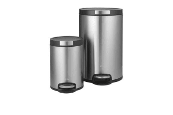 EKO Artistic Stainless Steel Step Bin 20L Set of 2