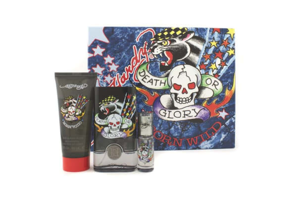 Christian Audigier ED Hardy Born Wild Coffret: Edt Spray 50ml/1.7oz + Hair & Body Wash 90ml/3oz + Edt Spray 7.5ml/0.25oz (3pcs)