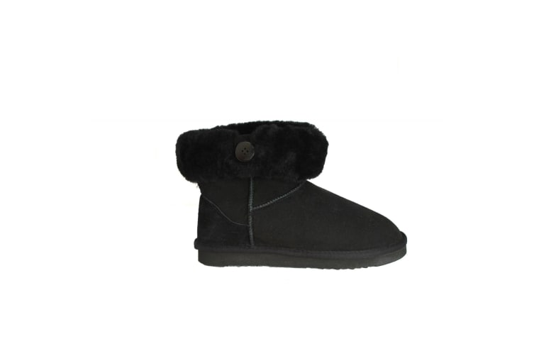 Eastern Counties Leather Womens/Ladies Freya Cuff And Button Sheepskin Boots (Black) (7 UK)
