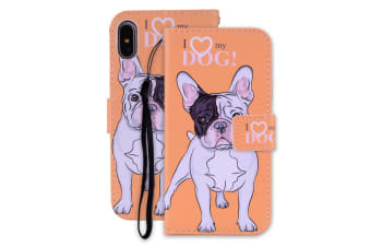 For iPhone XR Case I Love My Dog Pattern PU Leather Wallet Cover