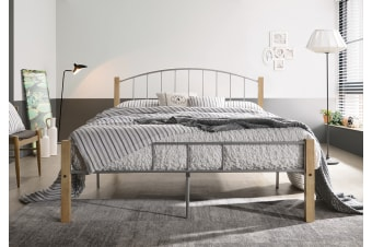 POLO Queen Metal Bed Frame w/ Solid Rubberwood Pole - Natural + Silver