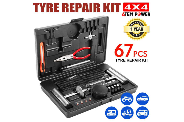 ATEM POWER 67PCS Tyre Puncture Repair Recovery Kit Heavy Duty 4WD Offroad Plugs Tubeless