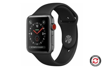 Apple Watch Series 3 Refurbished (Grey, Aluminium, 42mm, Sports Black, GPS + Cellular) - B Grade