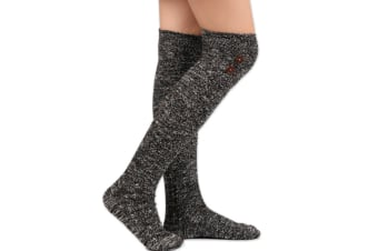 Women's Buttons Cotton Knit Knee High Boot Socks Black
