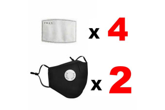 Black Washable PM2.5 Reusable Anti Air Pollution Face Mask With Respirator &2 Filters-2 Packs