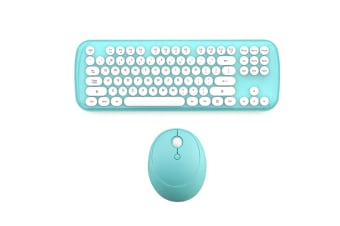 Mini Wireless Keyboard And Mouse Set Round Bluetooth Keyboard And Mouse - Blue Blue