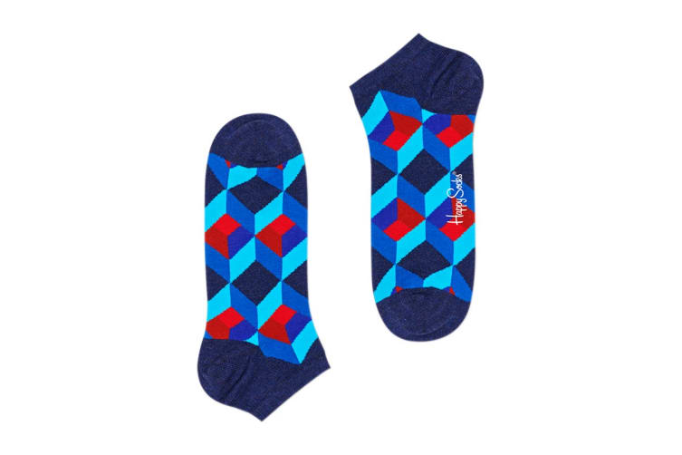 Happy Socks Optic Square Low Sock (Blue/Red, Size 36-40)