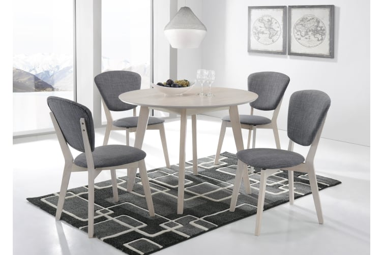 Round Dining Table 100cm Solid Wood Modern Scandinavian 4 Seater - White washed