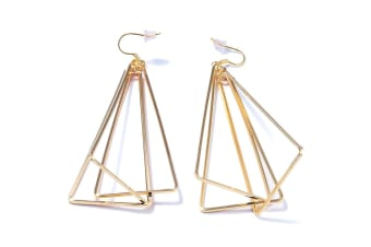Trio Triangle Dangle Earrings-Gold