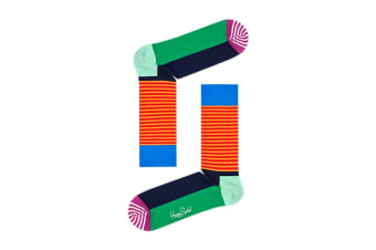 Happy Socks Half Stripe Sock (Blue/Orange/Purple, Size 36-40)