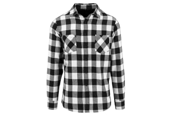 Build Your Brand Mens Checked Flannel Shirt (Black/White)