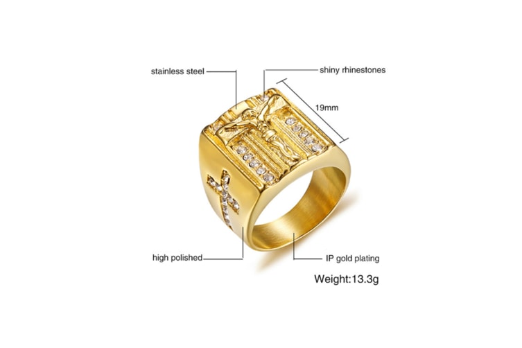 Mens Gold Plated Stainless Steel Crucifix Jesus Christ Cross Ring Gold 8