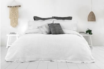 Ardor Flinders Washed Cotton Coverlet Set (White)