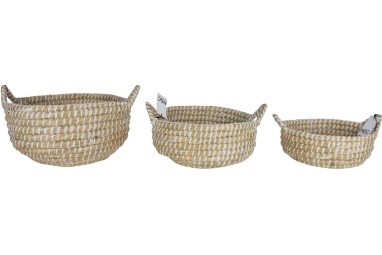 Elliot Kans Grass Baskets with Handles Set of 3