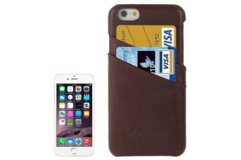 For iPhone 6S 6 Case Fashion Handmade Genuine Leather Cover Card Slot Brown
