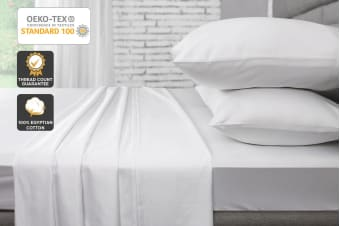 Ovela 1000TC 100% Egyptian Cotton Bed Sheet Set (White)