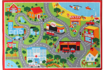 Kids Non Slip Road Map Beach Rug Red 200x133cm