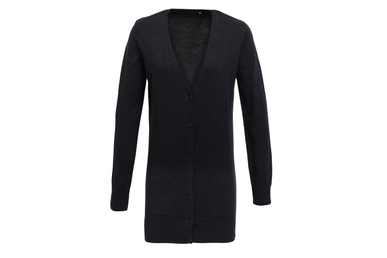 Premier Womens/Ladies Longline V Neck Knitted Cardigan (Charcoal) (24)