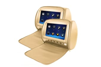 "Elinz 2x 9"" Touch Screen Car Headrest DVD Player Monitor Pillow Games 1080P USB Sony Lens Beige"