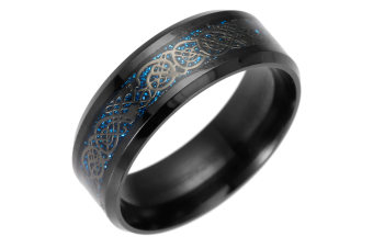 Dragon Scale Dragon Pattern Beveled Edges Celtic Rings Jewelry Wedding Band for Men 5