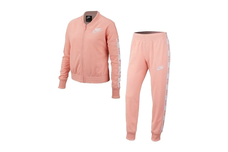 Nike Girls' Tricot Tracksuits (Pink/White, Size L)