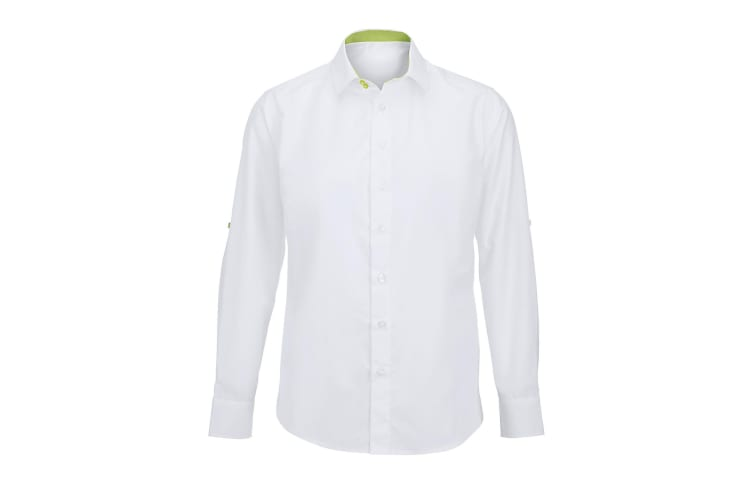 Alexandra Mens Roll Sleeve Hospitality Work Shirt (White/ Lime) (M)