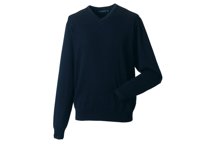 Russell Collection Mens V-Neck Knitted Pullover Sweatshirt (French Navy) (XL)