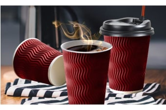Disposable Coffee Cups Triple Wall 12oz 100pcs RED