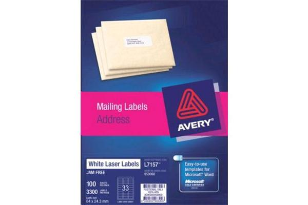 AVERY L7157-100 64 X24.3MM 100 SHEETS