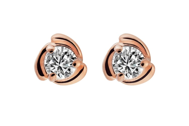 Swirl Solitaire Studs Embellished with Swarovski crystals
