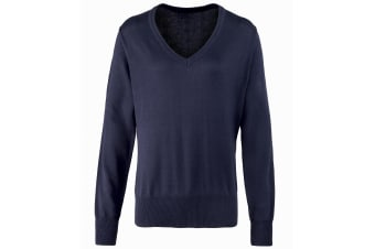 Premier Womens/Ladies V-Neck Knitted Sweater / Top (Navy) (16)